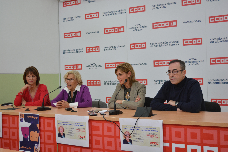 Manuela Carmena durante la rueda de prensa en Albacete. Foto: CCOO