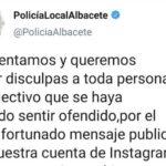 El Ayuntamiento de Albacete aparta del equipo de redes sociales de la Policía Local a la persona que publicó un mensaje en el que se frivolizaba sobre el acoso